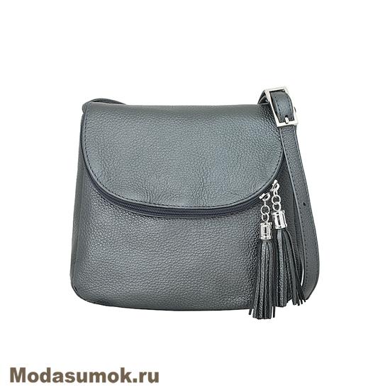 c74a293922f0 Женская сумка из натуральной кожи Protege Ц-258 серый металлик ...
